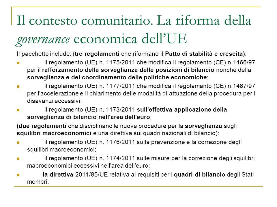 Il contesto comunitario. La riforma della governance economica dell'UE Il pacchetto include: (tre regolamenti che riformano il Patto di stabilità e cr