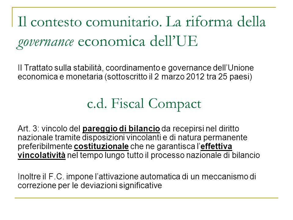 Il contesto comunitario. La riforma della governance economica dell'UE Il Trattato sulla stabilità, coordinamento e governance dell'Unione economica e