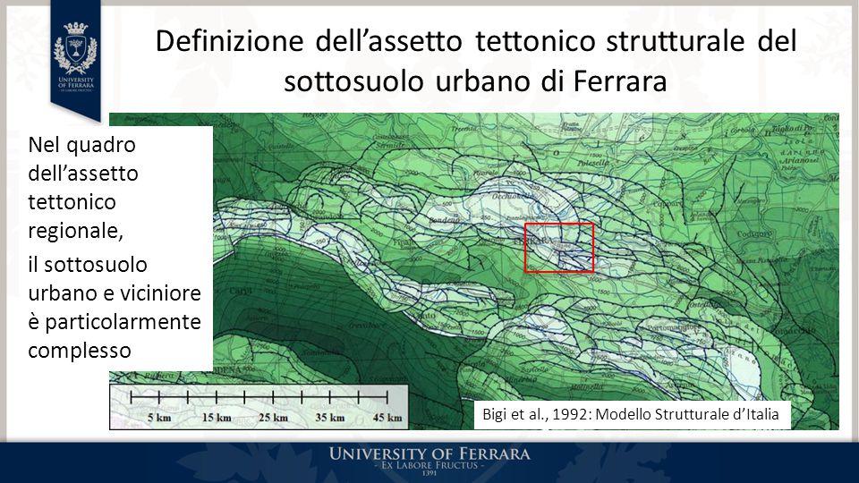 Definizione dell'assetto tettonico strutturale del sottosuolo urbano di Ferrara Nel quadro dell'assetto tettonico regionale, il sottosuolo urbano e vi
