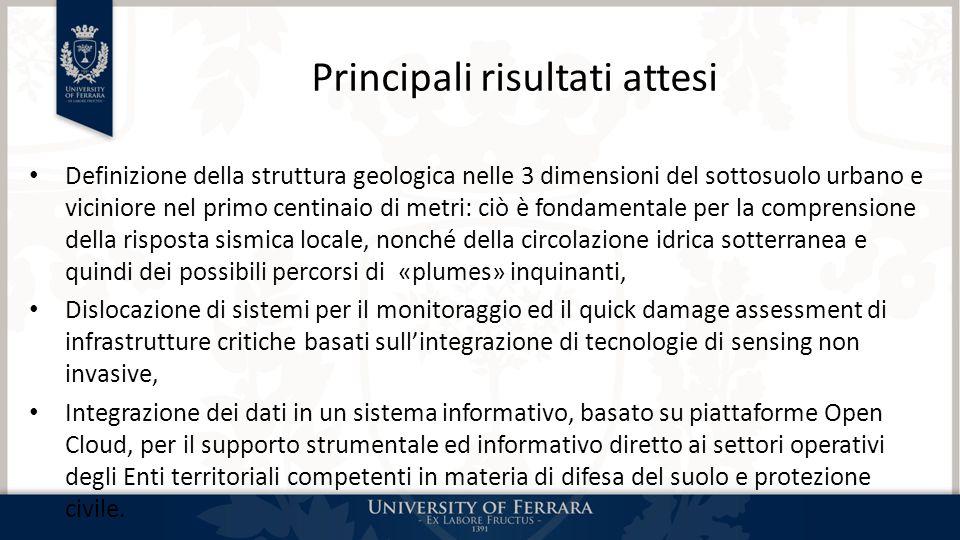 Principali risultati attesi Definizione della struttura geologica nelle 3 dimensioni del sottosuolo urbano e viciniore nel primo centinaio di metri: c
