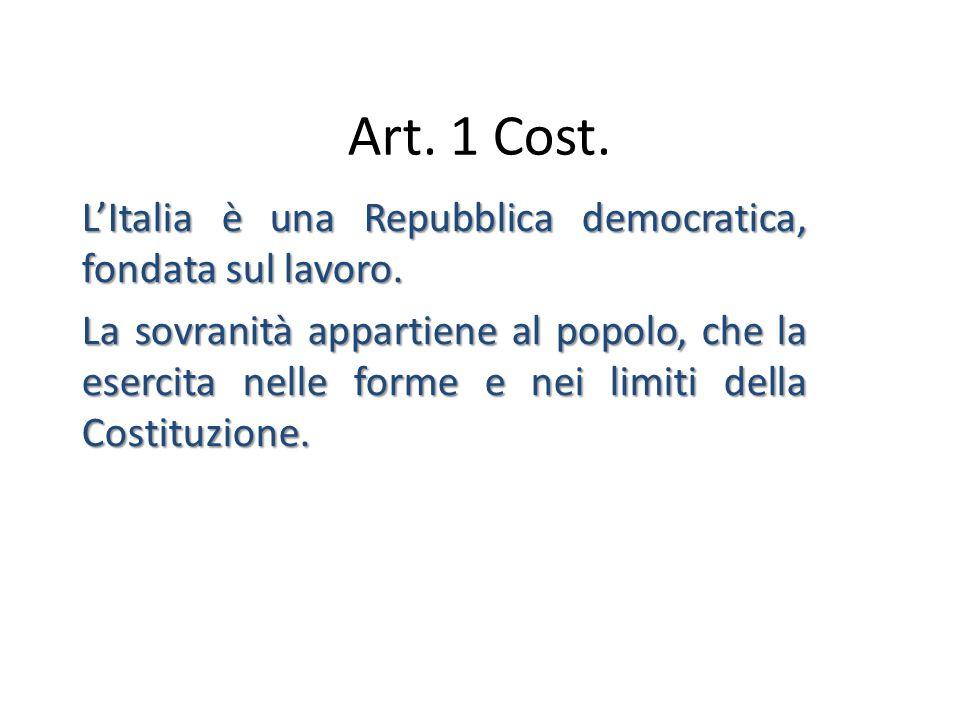 Art. 1 Cost. L'Italia è una Repubblica democratica, fondata sul lavoro. La sovranità appartiene al popolo, che la esercita nelle forme e nei limiti de
