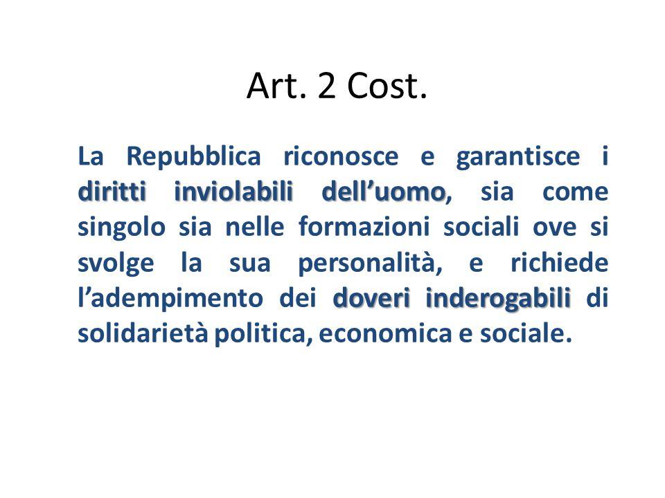 Art. 2 Cost. diritti inviolabili dell'uomo doveri inderogabili La Repubblica riconosce e garantisce i diritti inviolabili dell'uomo, sia come singolo