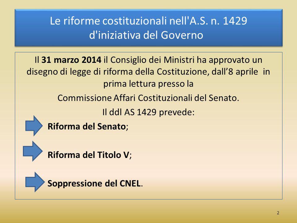 La riforma del Titolo V La proposta del Governo AS 1429, al Capo IV Modifiche al Titolo V della parte seconda della Costituzione (artt.