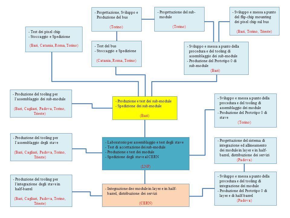 -Test dei pixel chip -Stoccaggio e Spedizione (Bari, Catania, Roma, Torino) -Progettazione, Sviluppo e Produzione del bus (Torino) -Test del bus -Stoccaggio e Spedizione (Catania, Roma, Torino) -Sviluppo e messa a punto del flip-chip mounting dei pixel chip sul bus (Bari, Torino, Trieste) -Sviluppo e messa a punto della procedura e del tooling di assemblaggio dei sub-module -Produzione del Prototipo 0 di sub-module (Bari) -Produzione e test dei sub-module -Spedizione dei sub-module (Bari) -Sviluppo e messa a punto della procedura e del tooling di assemblaggio dei module -Produzione del Prototipo 0 di stave (Torino) -Laboratorio per assemblaggio e test degli stave -Test di accettazione dei sub-module -Produzione e test dei module -Spedizione degli stave al CERN (LNF) -Integrazione deo module in layer e in half- barrel, distribuzione dei servizi (CERN) -Produzione del tooling per l'assemblaggio degli stave (Bari, Cagliari, Padova, Torino, Trieste) -Produzione del tooling per l'assemblaggio dei sub-module (Bari, Cagliari, Padova, Torino, Trieste) -Sviluppo e messa a punto della procedura e del tooling di integrazione dei module -Produzione del Prototipo 0 di layer e di half-barrel (Padova) -Produzione del tooling per l'integrazione degli stave in half-barrel (Bari, Cagliari, Padova, Torino, Trieste) -Progettazione del sub- module (Torino) -Progettazione del sistema di integrazione ed allineamento dei module in layer e in half- barrel, distribuzione dei servizi (Padova)
