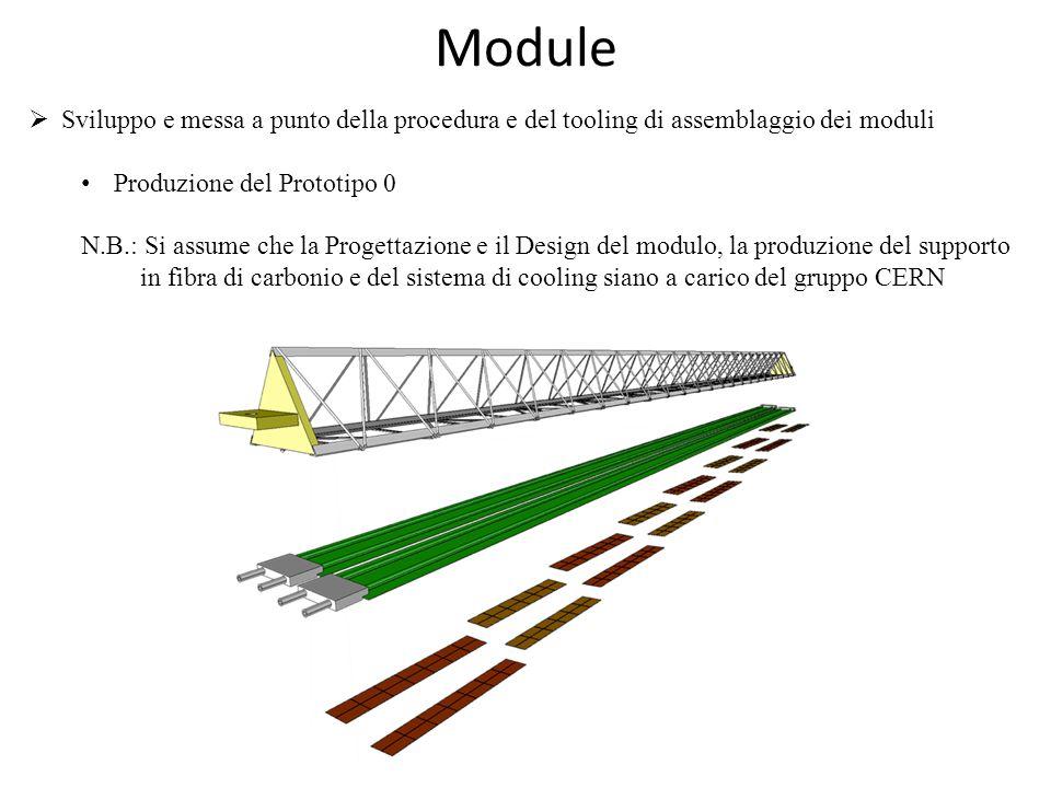 Module  Sviluppo e messa a punto della procedura e del tooling di assemblaggio dei moduli Produzione del Prototipo 0 N.B.: Si assume che la Progettazione e il Design del modulo, la produzione del supporto in fibra di carbonio e del sistema di cooling siano a carico del gruppo CERN