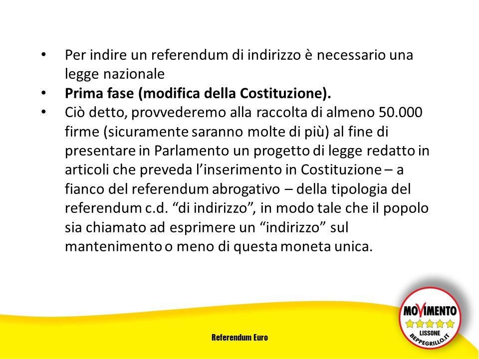 Referendum Euro Per indire un referendum di indirizzo è necessario una legge nazionale Prima fase (modifica della Costituzione).