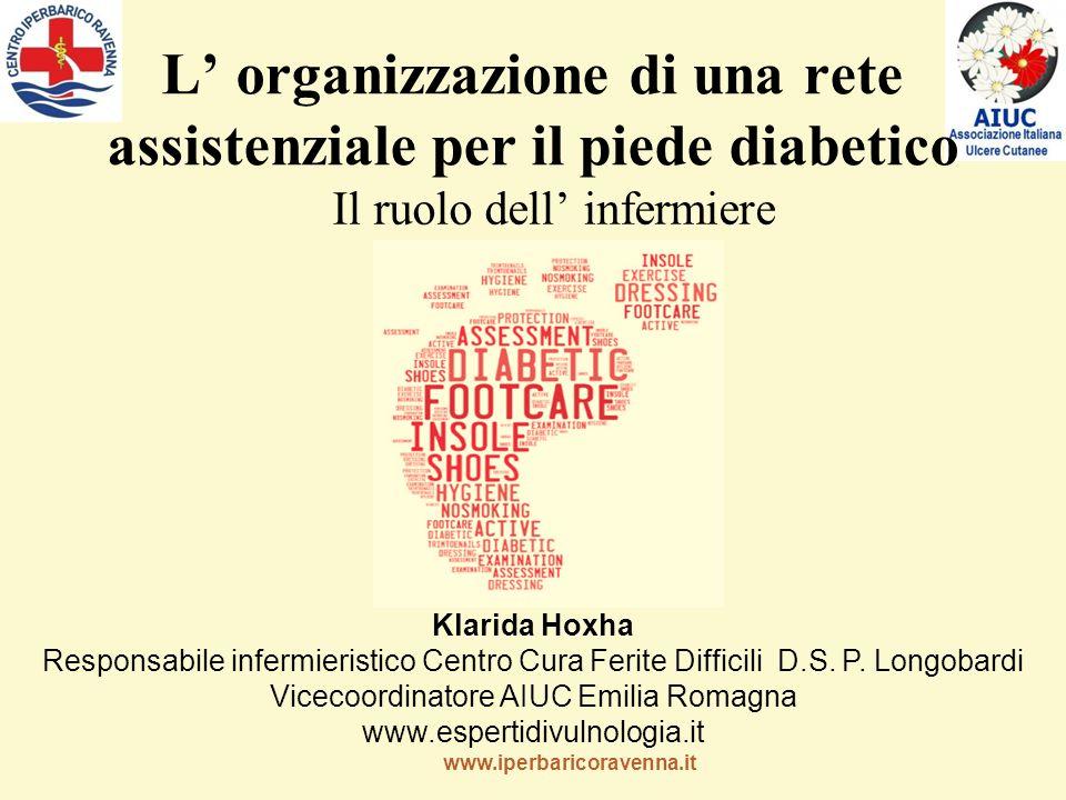 www.iperbaricoravenna.it L' organizzazione di una rete assistenziale per il piede diabetico Il ruolo dell' infermiere Klarida Hoxha Responsabile infermieristico Centro Cura Ferite Difficili D.S.