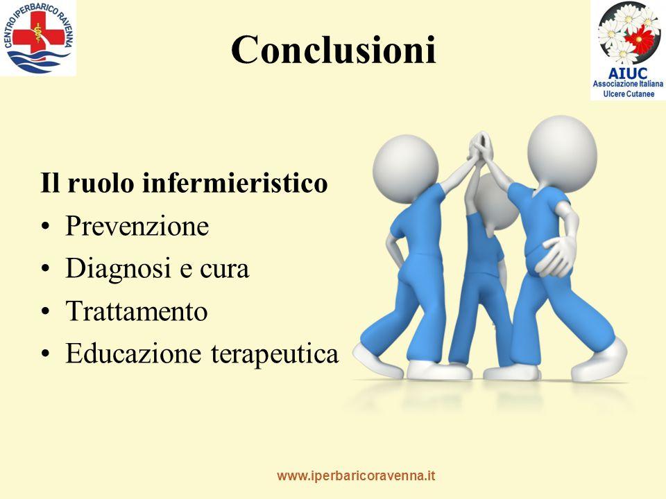 www.iperbaricoravenna.it Conclusioni Il ruolo infermieristico Prevenzione Diagnosi e cura Trattamento Educazione terapeutica