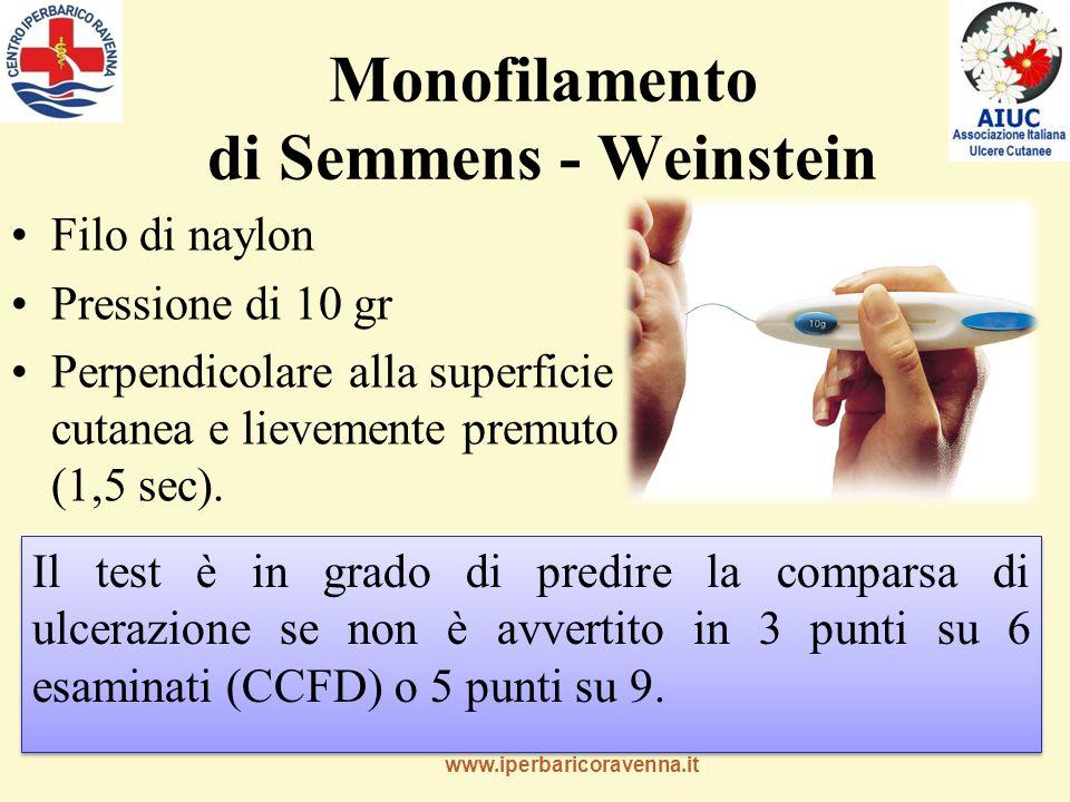www.iperbaricoravenna.it Monofilamento di Semmens - Weinstein Filo di naylon Pressione di 10 gr Perpendicolare alla superficie cutanea e lievemente premuto (1,5 sec).