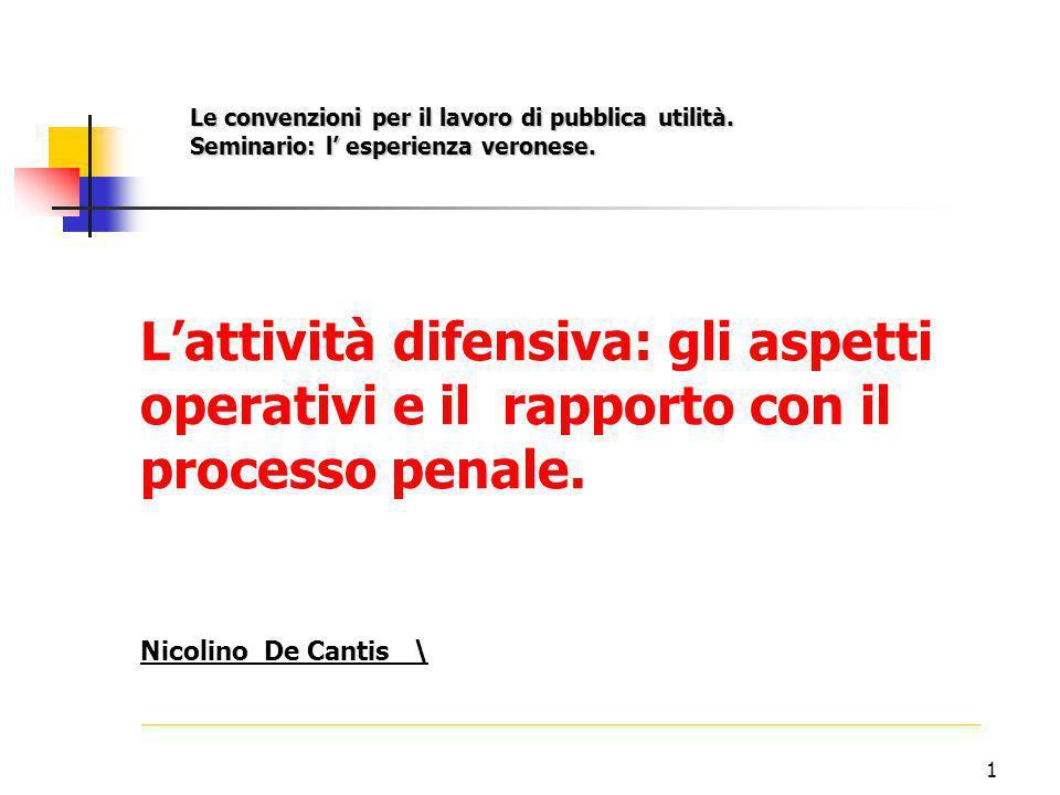 1 L'attività difensiva: gli aspetti operativi e il rapporto con il processo penale.