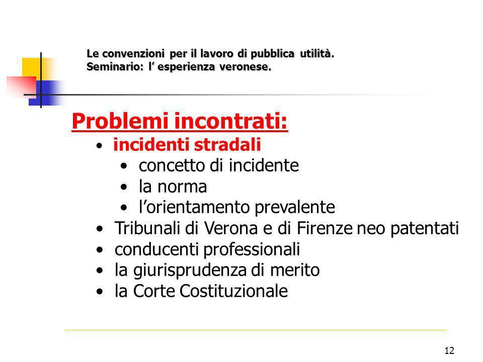 12 Problemi incontrati: incidenti stradali concetto di incidente la norma l'orientamento prevalente Tribunali di Verona e di Firenze neo patentati conducenti professionali la giurisprudenza di merito la Corte Costituzionale Le convenzioni per il lavoro di pubblica utilità.