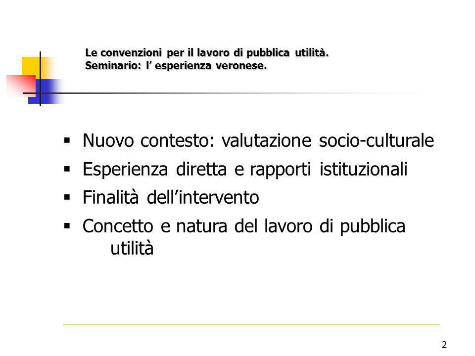 2  Nuovo contesto: valutazione socio-culturale  Esperienza diretta e rapporti istituzionali  Finalità dell'intervento  Concetto e natura del lavoro di pubblica utilità Le convenzioni per il lavoro di pubblica utilità.