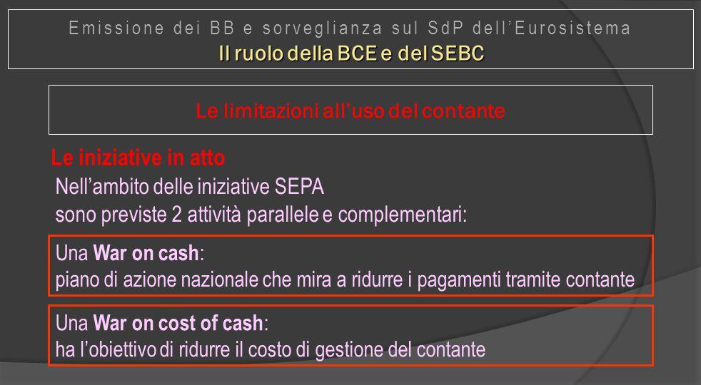 Le iniziative in atto Una War on cash : piano di azione nazionale che mira a ridurre i pagamenti tramite contante Nell'ambito delle iniziative SEPA so