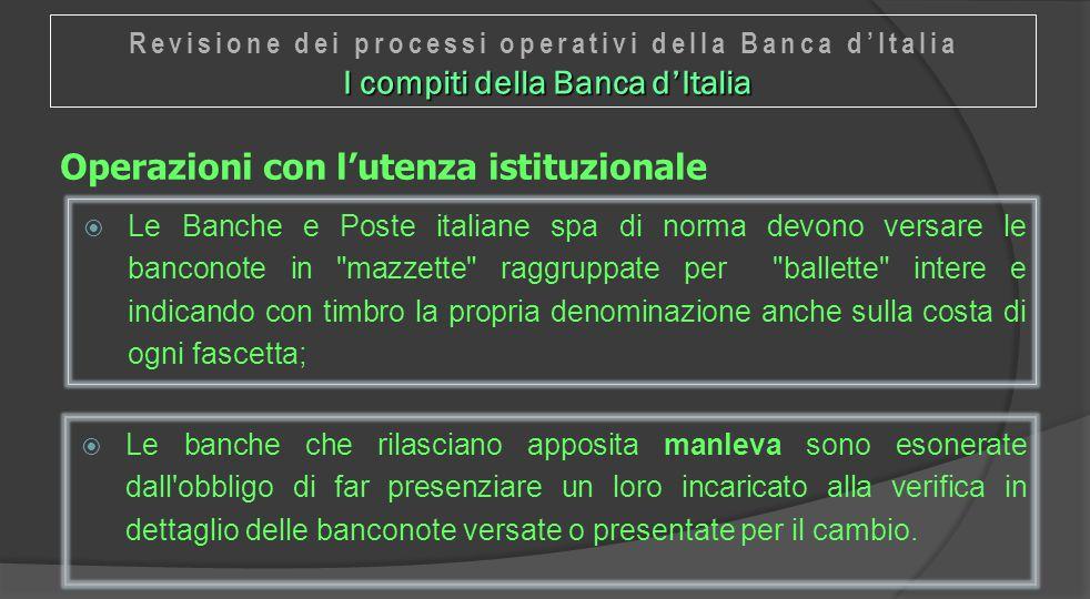 Operazioni con l'utenza istituzionale  Le Banche e Poste italiane spa di norma devono versare le banconote in