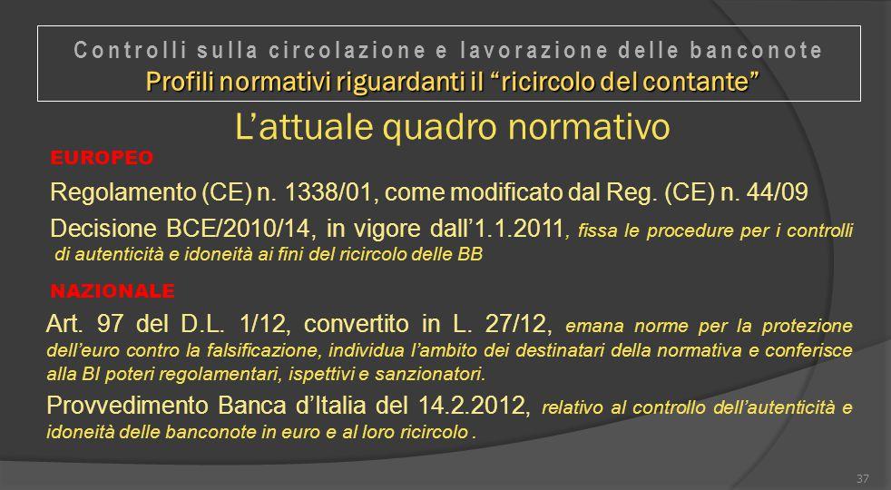 L'attuale quadro normativo EUROPEO Regolamento (CE) n. 1338/01, come modificato dal Reg. (CE) n. 44/09 Decisione BCE/2010/14, in vigore dall'1.1.2011,