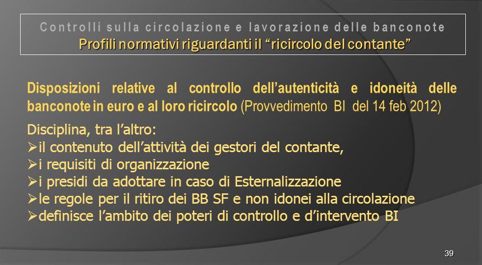 39 Disposizioni relative al controllo dell'autenticità e idoneità delle banconote in euro e al loro ricircolo (Provvedimento BI del 14 feb 2012) Disci