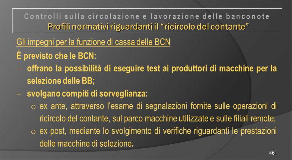 46 Gli impegni per la funzione di cassa delle BCN È previsto che le BCN:  offrano la possibilità di eseguire test ai produttori di macchine per la se