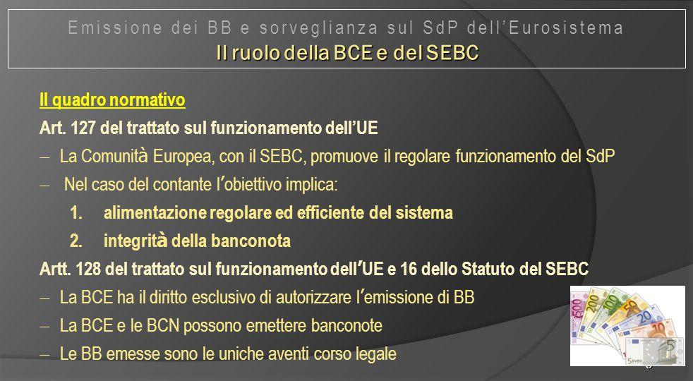 5 Il quadro normativo Art. 127 del trattato sul funzionamento dell'UE  La Comunit à Europea, con il SEBC, promuove il regolare funzionamento del SdP