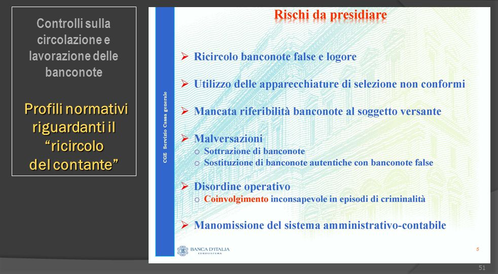 """51 Controlli sulla circolazione e lavorazione delle banconote Profili normativi riguardanti il """"ricircolo Profili normativi riguardanti il """"ricircolo"""