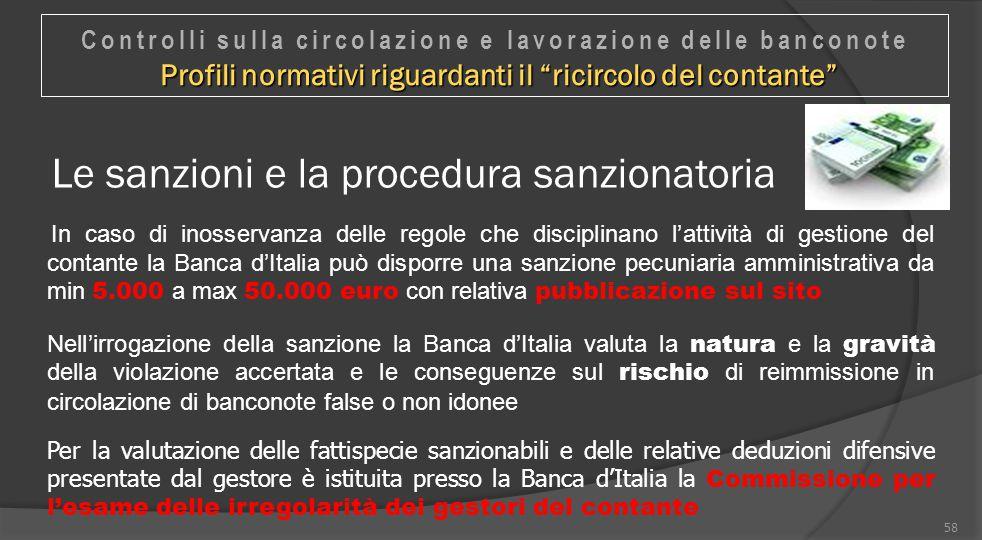 58 Le sanzioni e la procedura sanzionatoria In caso di inosservanza delle regole che disciplinano l'attività di gestione del contante la Banca d'Itali