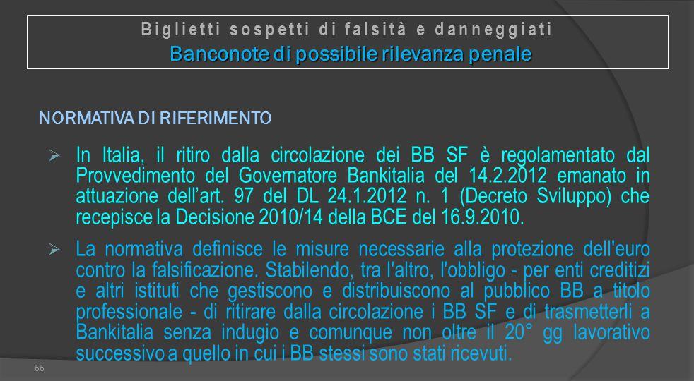 NORMATIVA DI RIFERIMENTO  In Italia, il ritiro dalla circolazione dei BB SF è regolamentato dal Provvedimento del Governatore Bankitalia del 14.2.201
