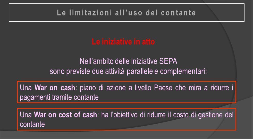 Le iniziative in atto Una War on cash : piano di azione a livello Paese che mira a ridurre i pagamenti tramite contante Nell'ambito delle iniziative S