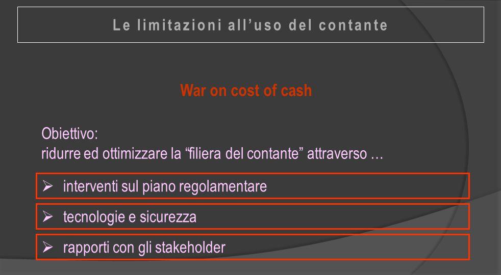 """War on cost of cash  interventi sul piano regolamentare Obiettivo: ridurre ed ottimizzare la """"filiera del contante"""" attraverso …  tecnologie e sicur"""