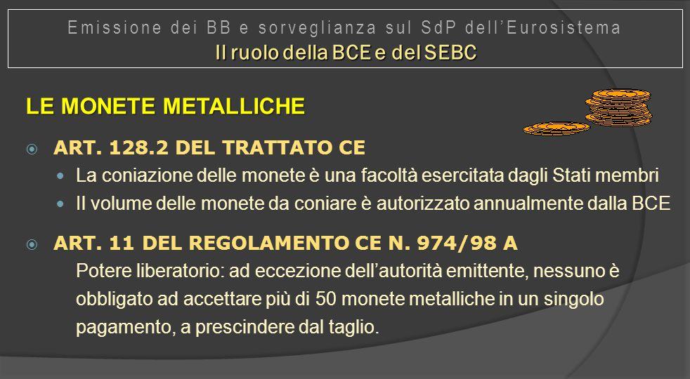 LE MONETE METALLICHE  ART. 128.2 DEL TRATTATO CE La coniazione delle monete è una facoltà esercitata dagli Stati membri Il volume delle monete da con