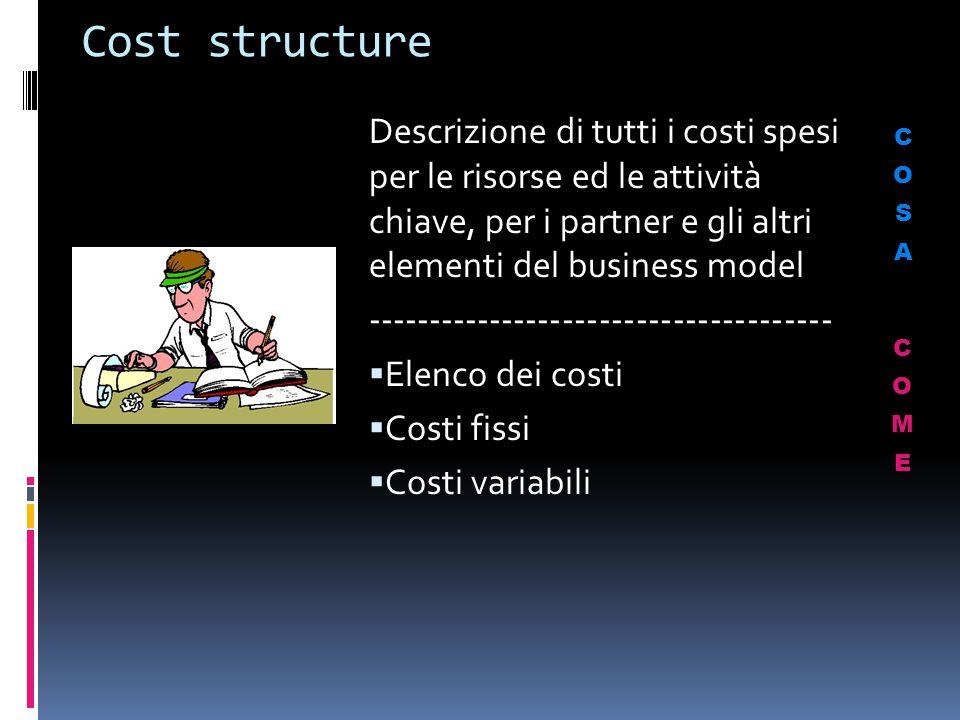 Cost structure Descrizione di tutti i costi spesi per le risorse ed le attività chiave, per i partner e gli altri elementi del business model --------