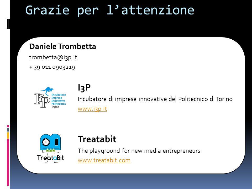 Grazie per l'attenzione Daniele Trombetta trombetta@i3p.it + 39 011 0903219 I3P Incubatore di imprese innovative del Politecnico di Torino www.i3p.it