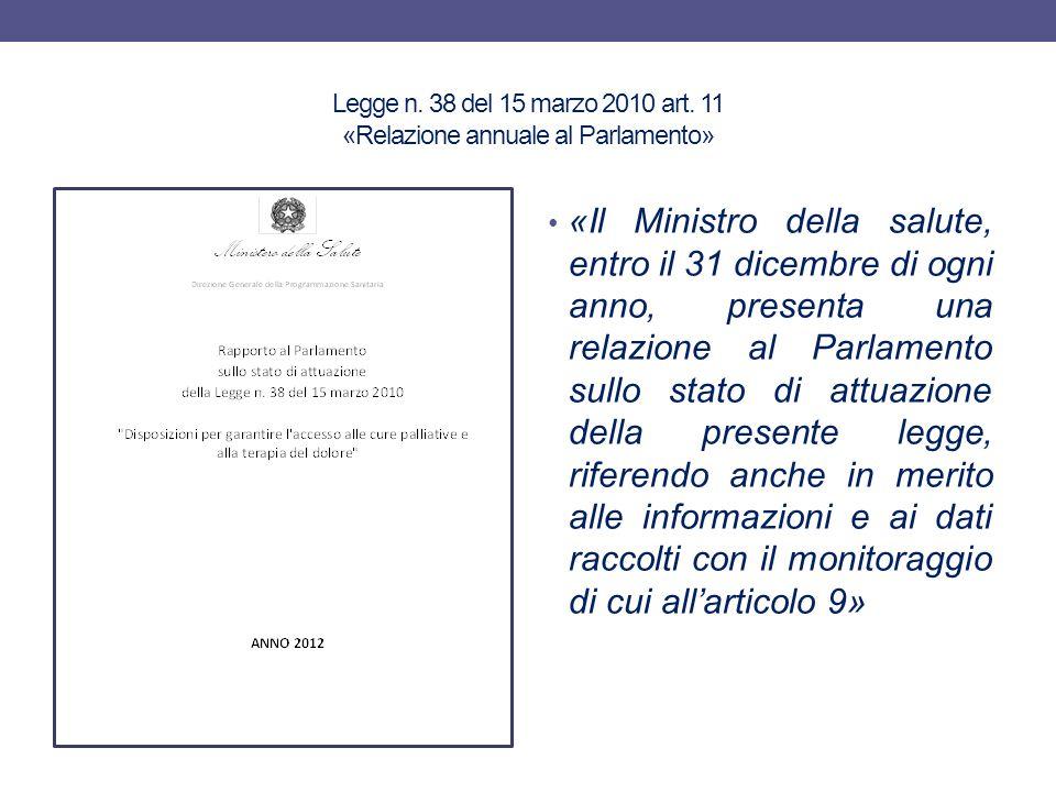 Legge n. 38 del 15 marzo 2010 art. 11 «Relazione annuale al Parlamento» «Il Ministro della salute, entro il 31 dicembre di ogni anno, presenta una rel