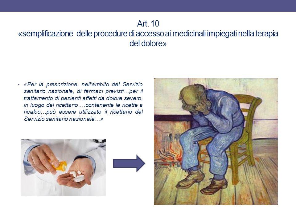 Art. 10 «semplificazione delle procedure di accesso ai medicinali impiegati nella terapia del dolore» «Per la prescrizione, nell'ambito del Servizio s