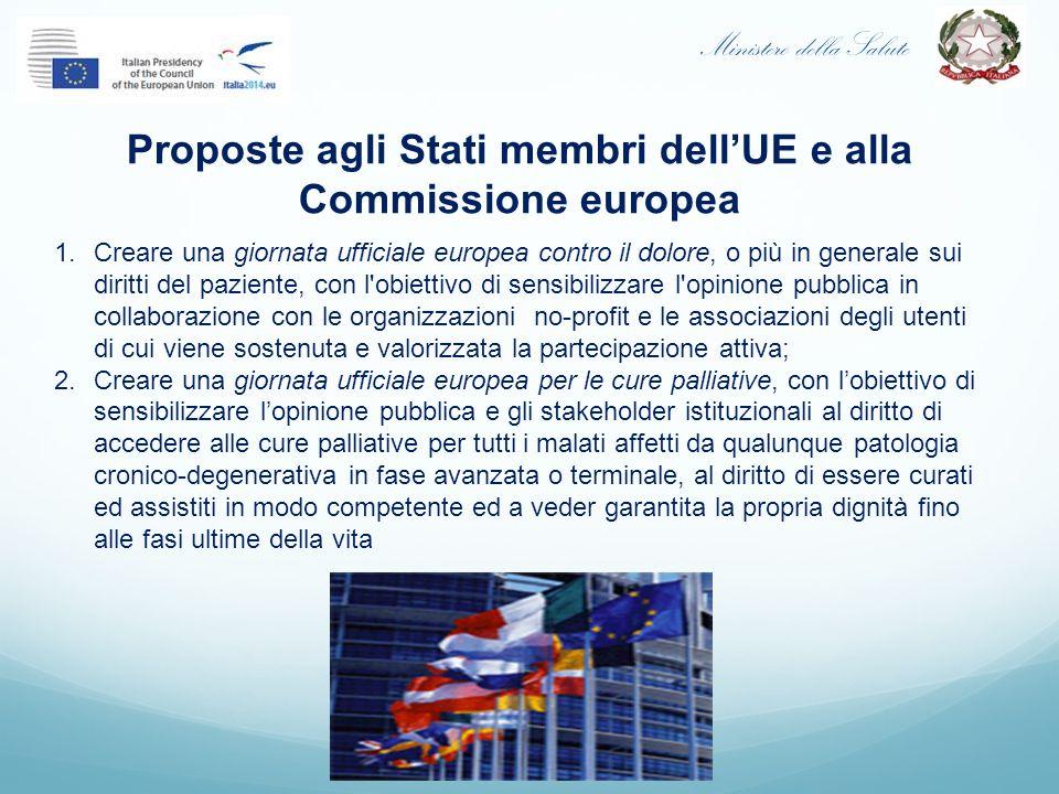 Ministero della Salute Proposte agli Stati membri dell'UE e alla Commissione europea 1.Creare una giornata ufficiale europea contro il dolore, o più i