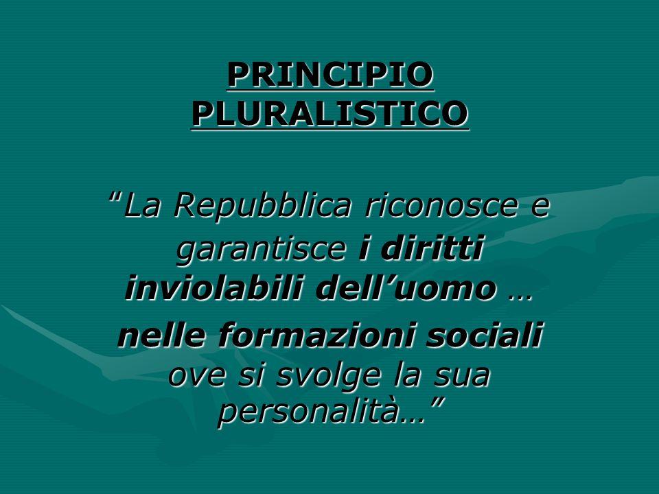 """PRINCIPIO PLURALISTICO """"La Repubblica riconosce e garantisce i diritti inviolabili dell'uomo … nelle formazioni sociali ove si svolge la sua personali"""