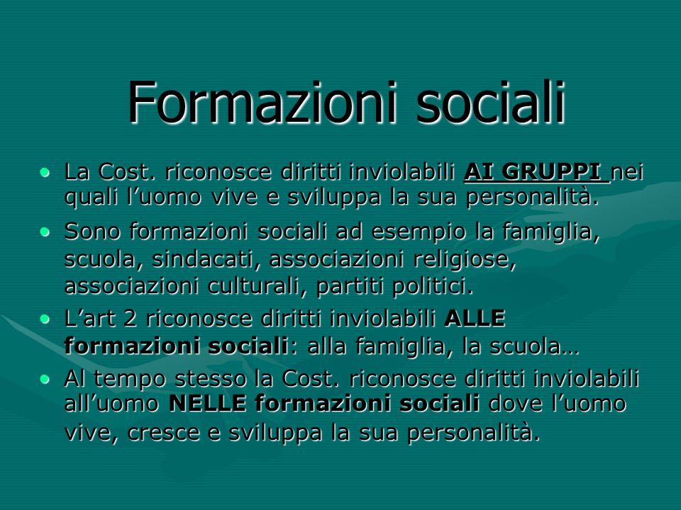 Formazioni sociali La Cost. riconosce diritti inviolabili AI GRUPPI nei quali l'uomo vive e sviluppa la sua personalità.La Cost. riconosce diritti inv
