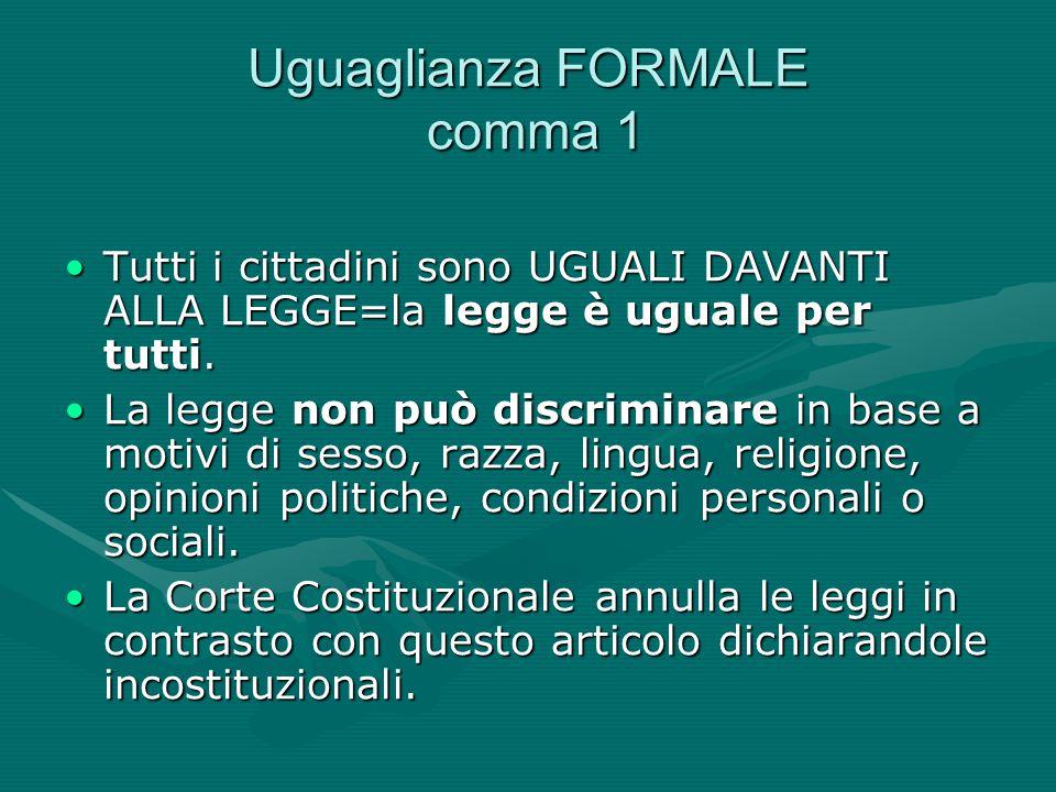 Uguaglianza FORMALE comma 1 Tutti i cittadini sono UGUALI DAVANTI ALLA LEGGE=la legge è uguale per tutti.Tutti i cittadini sono UGUALI DAVANTI ALLA LE