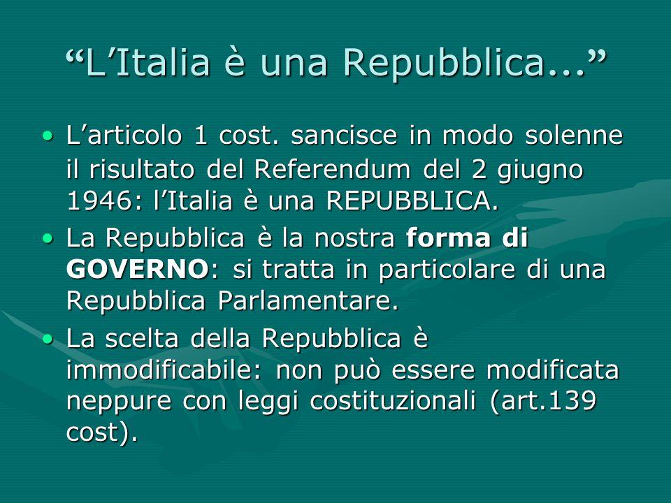 """"""" L'Italia è una Repubblica …"""" L'articolo 1 cost. sancisce in modo solenne il risultato del Referendum del 2 giugno 1946: l'Italia è una REPUBBLICA.L'"""