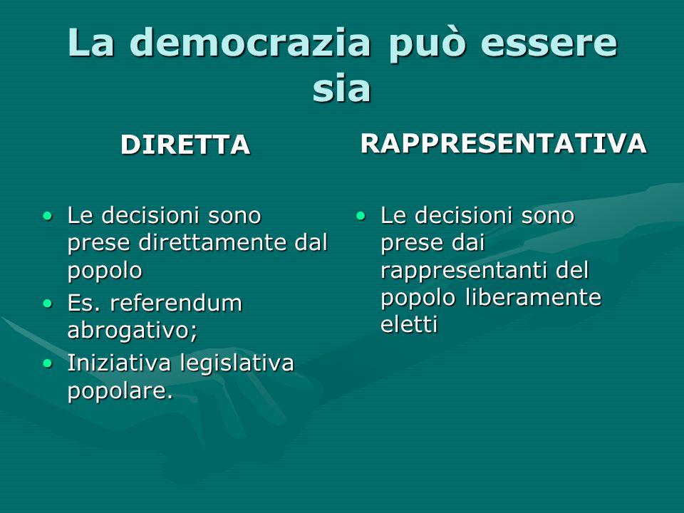 La democrazia può essere sia DIRETTA Le decisioni sono prese direttamente dal popoloLe decisioni sono prese direttamente dal popolo Es. referendum abr