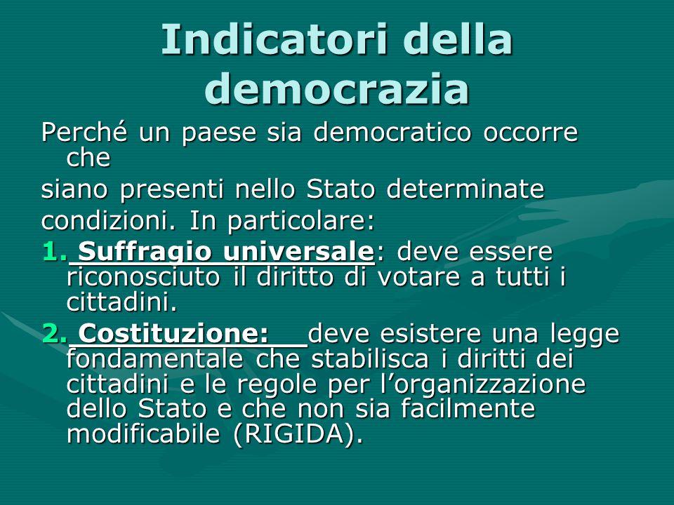 Indicatori della democrazia Perché un paese sia democratico occorre che siano presenti nello Stato determinate condizioni. In particolare: 1. Suffragi