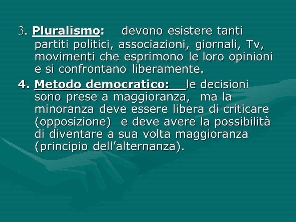 3. Pluralismo: devono esistere tanti partiti politici, associazioni, giornali, Tv, movimenti che esprimono le loro opinioni e si confrontano liberamen
