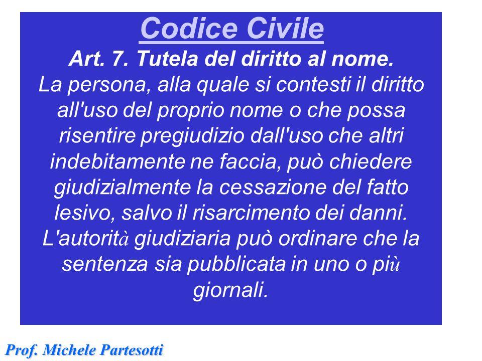 Codice Civile Codice Civile Art. 7. Tutela del diritto al nome. La persona, alla quale si contesti il diritto all'uso del proprio nome o che possa ris