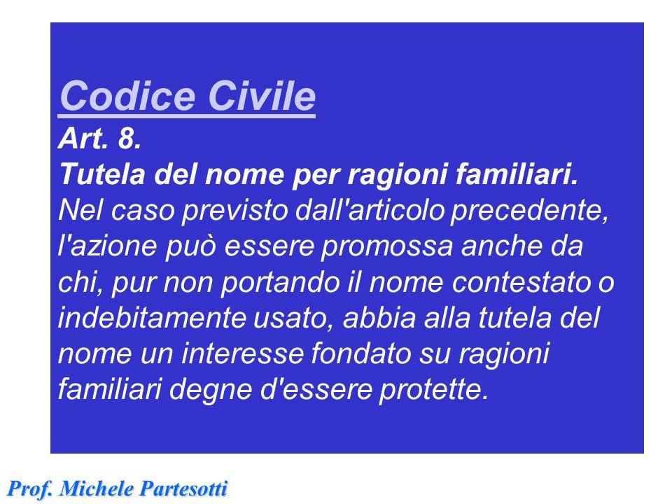 Codice Civile Codice Civile Art. 8. Tutela del nome per ragioni familiari. Nel caso previsto dall'articolo precedente, l'azione può essere promossa an