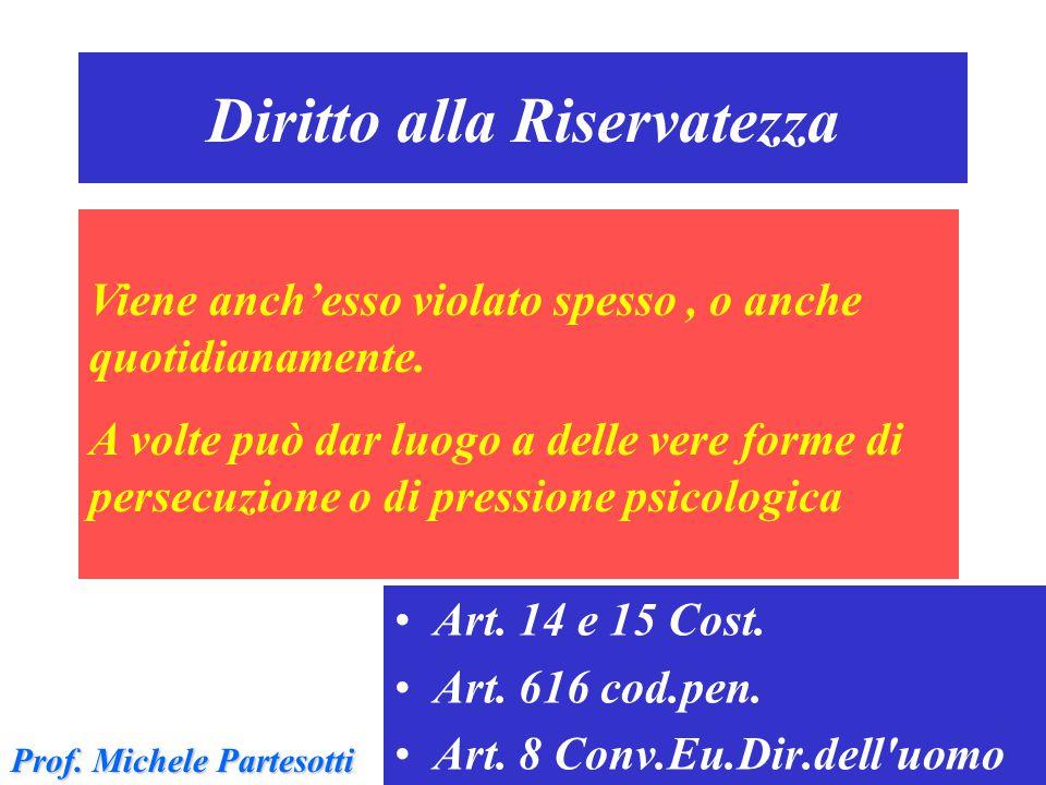 Diritto alla Riservatezza Art. 14 e 15 Cost. Art. 616 cod.pen. Art. 8 Conv.Eu.Dir.dell'uomo Viene anch'esso violato spesso, o anche quotidianamente. A