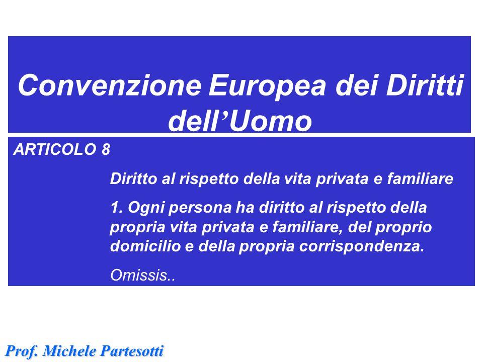 Convenzione Europea dei Diritti dell ' Uomo ARTICOLO 8 Diritto al rispetto della vita privata e familiare 1. Ogni persona ha diritto al rispetto della