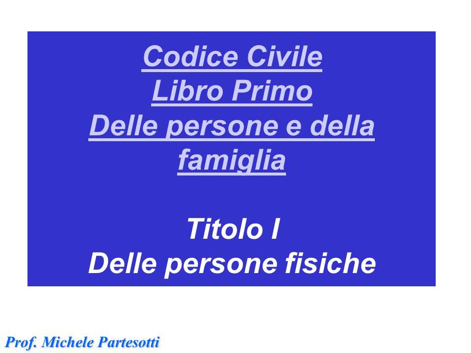 Codice Civile Libro Primo Delle persone e della famiglia Codice Civile Libro Primo Delle persone e della famiglia Titolo I Delle persone fisiche Prof.