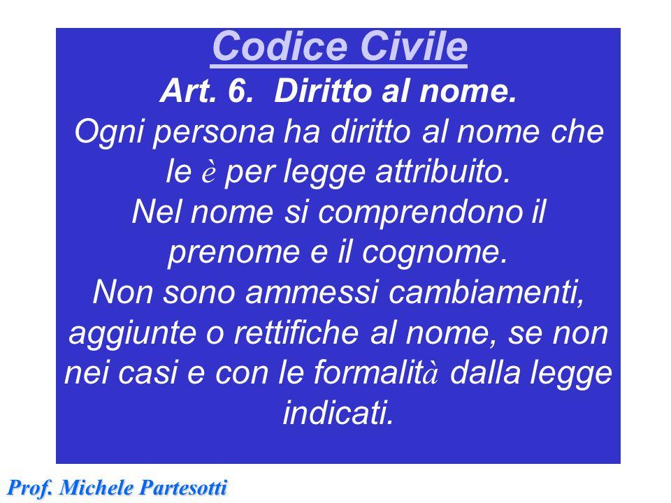 Codice Civile Codice Civile Art. 6. Diritto al nome. Ogni persona ha diritto al nome che le è per legge attribuito. Nel nome si comprendono il prenome