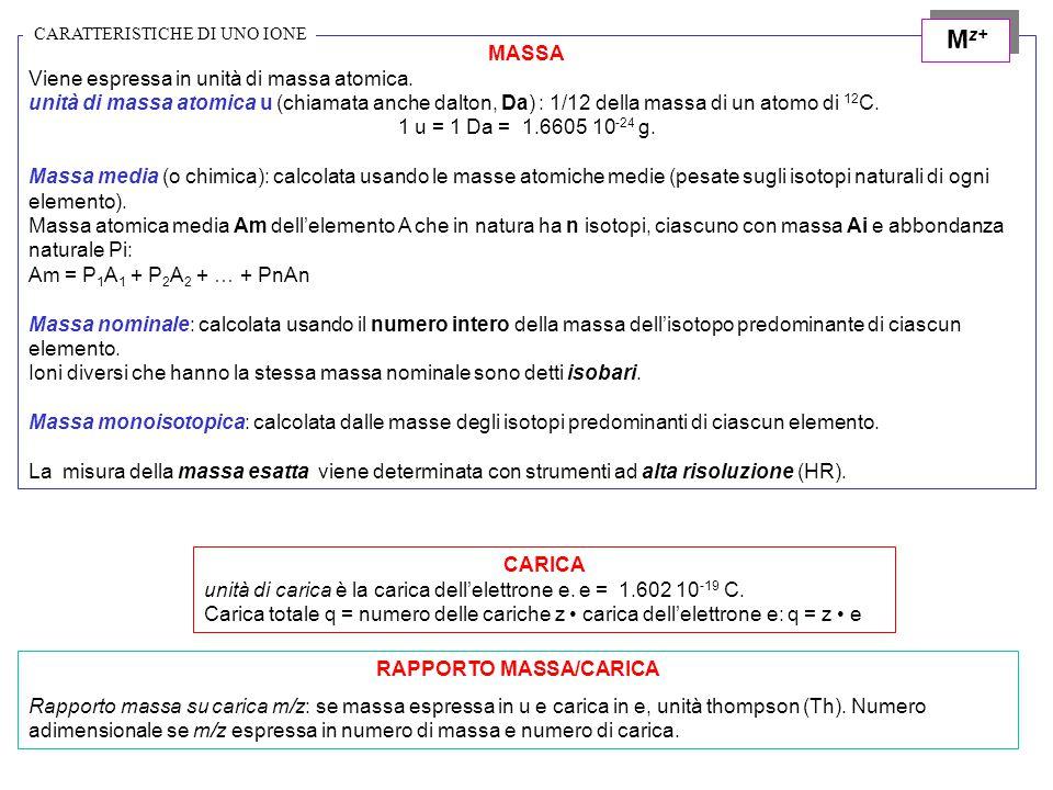 MASSA Viene espressa in unità di massa atomica. unità di massa atomica u (chiamata anche dalton, Da) : 1/12 della massa di un atomo di 12 C. 1 u = 1 D