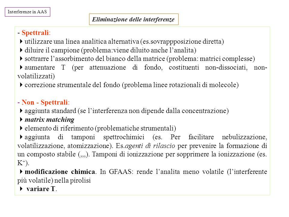 Interferenze in AAS - Spettrali:  utilizzare una linea analitica alternativa (es.sovrappposizione diretta)  diluire il campione (problema:viene diluito anche l'analita)  sottrarre l'assorbimento del bianco della matrice (problema: matrici complesse)  aumentare T (per attenuazione di fondo, costituenti non-dissociati, non- volatilizzati)  correzione strumentale del fondo (problema linee rotazionali di molecole) - Non - Spettrali:  aggiunta standard (se l'interferenza non dipende dalla concentrazione)  matrix matching  elemento di riferimento (problematiche strumentali)  aggiunta di tamponi spettrochimici (es.