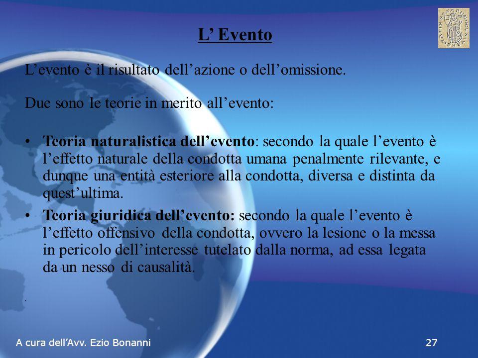 A cura dell'Avv. Ezio Bonanni 27 L' Evento L'evento è il risultato dell'azione o dell'omissione.