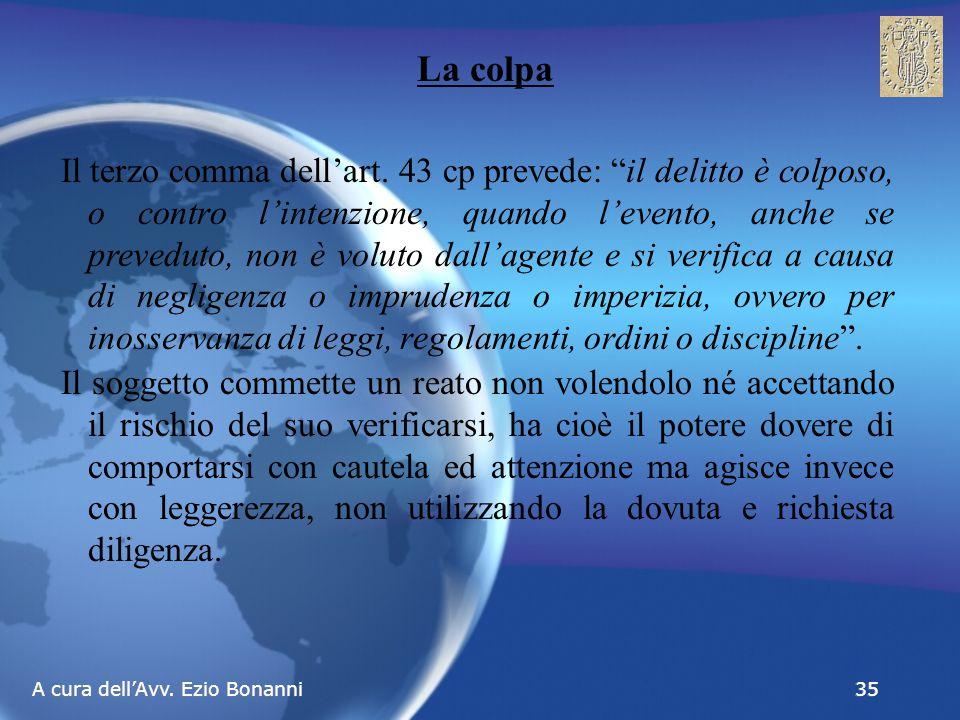A cura dell'Avv. Ezio Bonanni 35 La colpa Il terzo comma dell'art.
